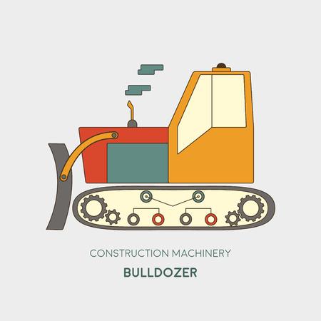 heavy: Bulldozer vector icon. Heavy equipment vehicle isolated on white