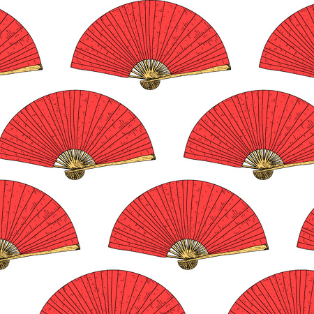 japanese fan: East seamless pattern. Vector hand drawn Japanese fan background Illustration