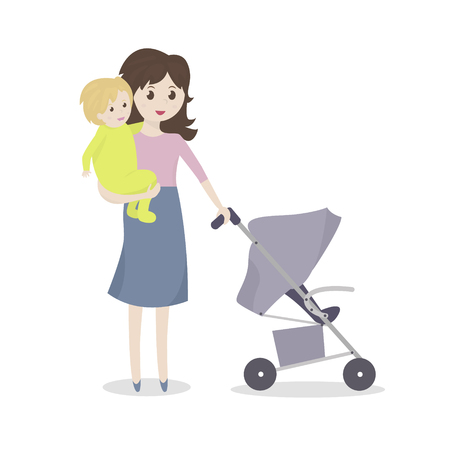 nursing bottle: Mother with baby and stroller. Young mom holding a baby in her arms. Vector Illustration Illustration