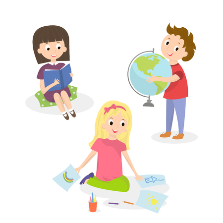 children painting: Kids doing different activities. Children painting and study. Vector illustration