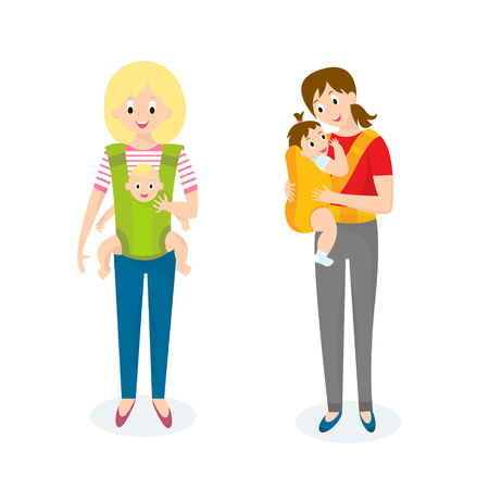 carrier: Two Mom with Baby in baby carrier. Vector illustration Illustration