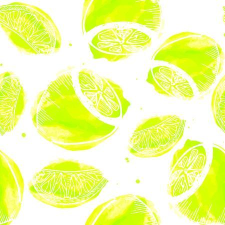 ジューシーなレモンのシームレスなパターン。レモンと描かれたテクスチャを手します。  イラスト・ベクター素材
