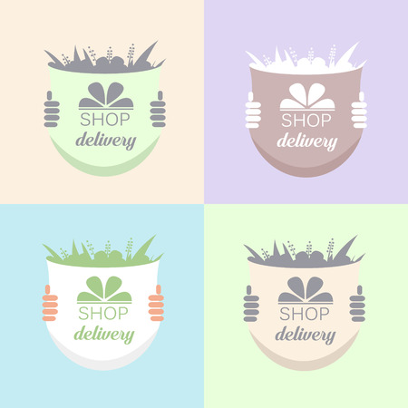 ship order: Flowers Delivery Icons Set. Vector illustration Illustration
