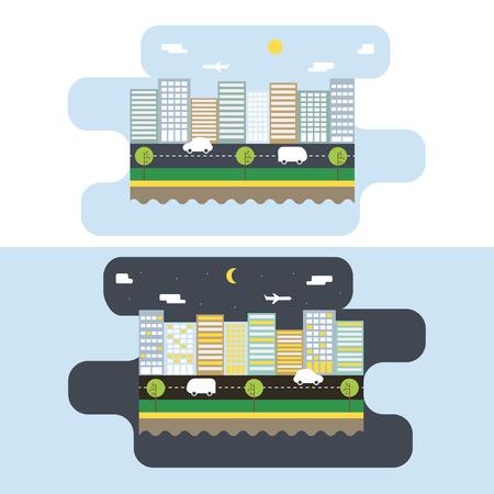 moon  metropolis: Day and night Urban Landscape. Design Concept city life. Vector Illustration
