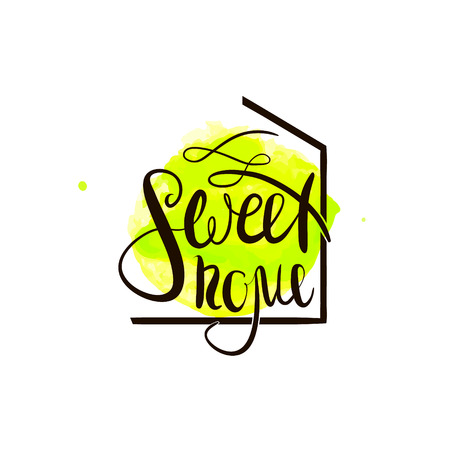 housewarming: Sweet home handwritten phrase. For housewarming posters, label, greeting cards, home decorations.Vector  illustration.