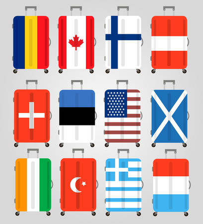belongings: Suitcase icons set. 12 Suitcases with flags of different countries. Suitcase icon best. Vector Illustration