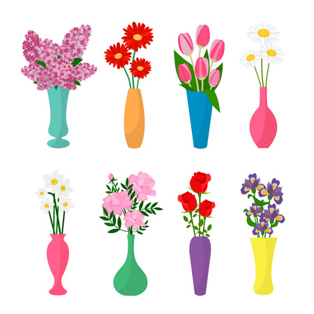 Flowers In Vases Flower Pots Icons Chamomile Rose Lilac
