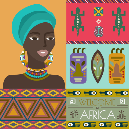 african woman face: Illustration of Africa with different african symbols. African woman portrait. Elements can be used separately or as a design concept.