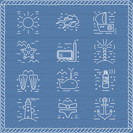 Summer  icons. Marine design elements.  Vacation symbols in trendy line style.