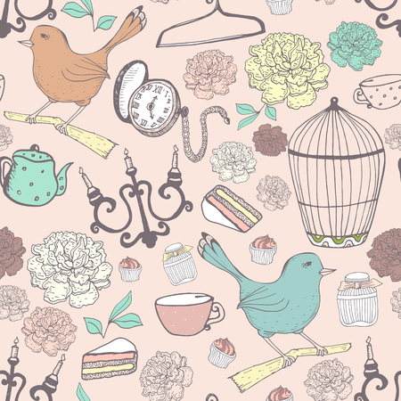 old items: Vintage pattern in pastel colors with different old items.