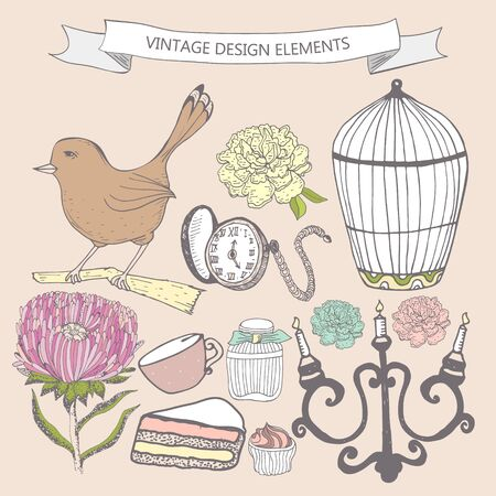 used items: Collection of hand drawn vintage items. Perfume bottle, aster, cake, cage bird, pocket watch, candlestick. Elements can be used separately or for  greeting card, invitation in retro style, etc.