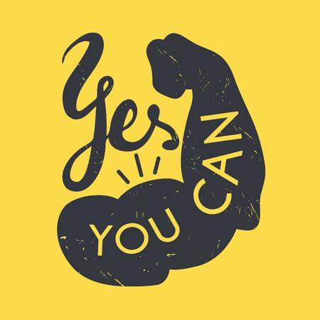 Sterke arm met tekst Ja, dat kan. Hand getrokken uitstekende inspiratie poster. Het kan worden gebruikt als t-shirt print, poster, enz.