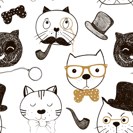 angel cat: Seamless pattern with cats faces. Doodle funny cats background.