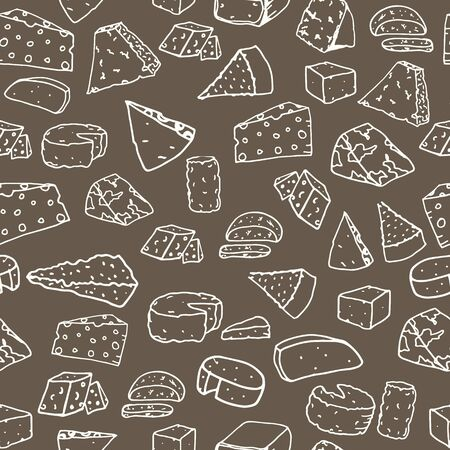 Cheese pattern. Seamless background with hand drawn different cheese.