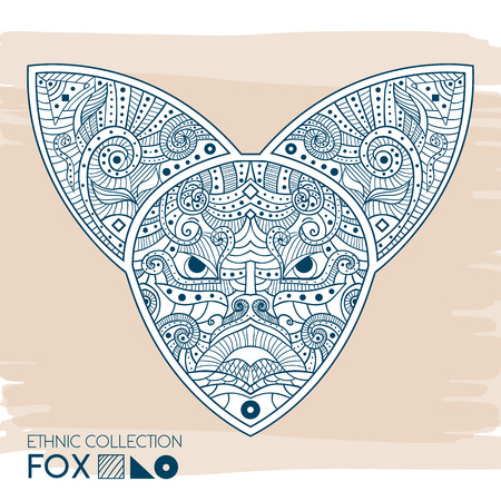 ethnical: Ethnic blue head of the fox. High detailed Patterned head of the fox. Decorated Fox head. Vector Illustration