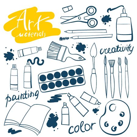 distemper: Doodle art materials collection. Hand drawn art icons set. Vector Illustration