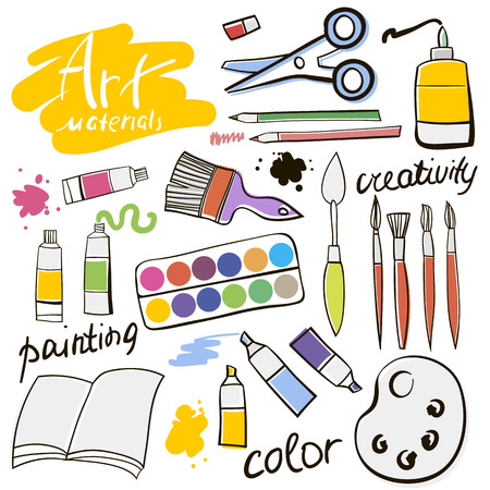 distemper: Doodle colored art materials collection. Hand drawn art icons set. Vector Illustration