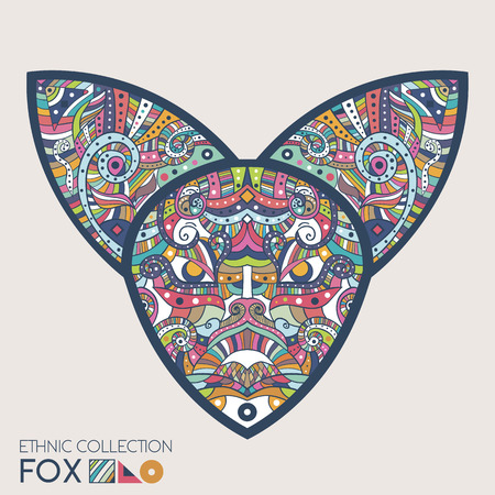ethnical: Ethnic colored head of the fox. High detailed Patterned head of the fox. Decorated Fox head. Vector Illustration Illustration