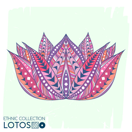 Lotos flower ethnic, tribal style. Boho  print. Trendy high detailed cactus. Perfectly look on t-shirt, bags, fabric, etc. Vector Illustration