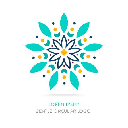 Mandala-logo. Simpel geometrisch logo. Sappig circulair logo. Logo voor boetiek, bedrijfslogo, merk, embleem, element. Vector illustratie Stock Illustratie