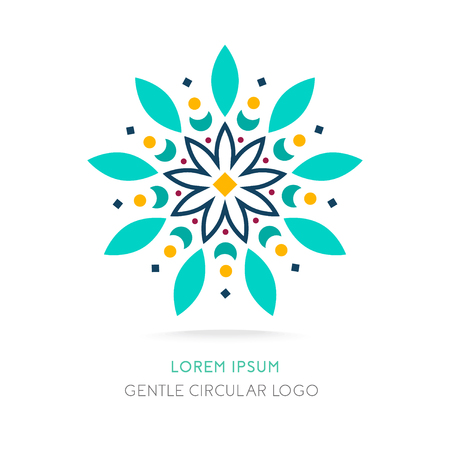 Mandala logo.Simple geometric logo. Juicy circular logo. Logo for boutique, company logo, mark, emblem, element. Vector Illustration