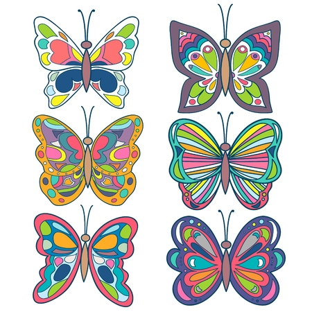 butterfly isolated: Butterfly set. Colorful beautiful butterfly collection. Butterfly isolated. on white. Vector Illustration Illustration