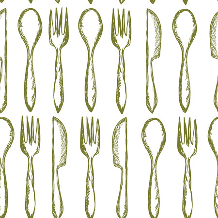 grunge flatware: Seamless texture with Fork, Knife, Spoon in sketch style. Hand drawing cutlery pattern. Vector illustration