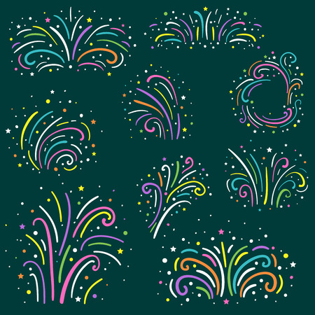 fourth birthday: Colorful fireworks set isolated. Holiday and party firework icons collection. Vector illustration