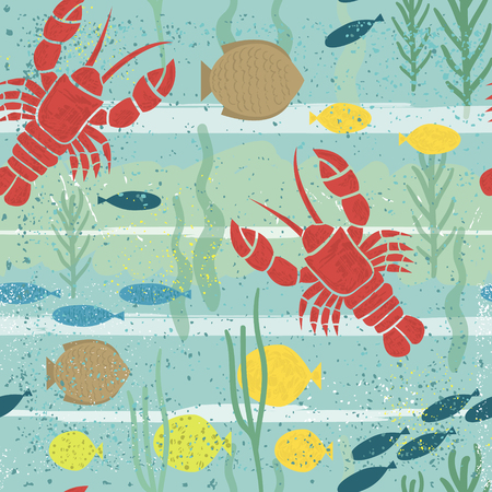 under sea: Under sea seamless pattern. Marine texture with lobster, fish, seaweed. Perfectly look on fabric, wrapping, textile. Vector illustration