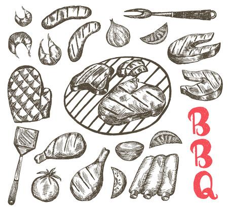 bbq ribs: Grill Sketch food set. BBQ food is sausages, ribs, shrimp, salmon, steak, vegetables, chicken. Vector Illustration
