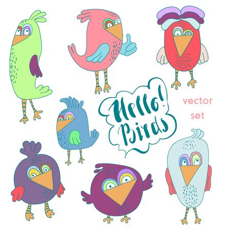 twit: Cartoon set of funny colourful bird. Little cute birds isolated. Vector illustration collection
