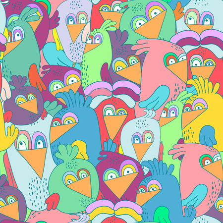 twit: Seamless pattern with cute colorful birds. Perfectly look on fabric,textile,web,etc. Vector Illustration