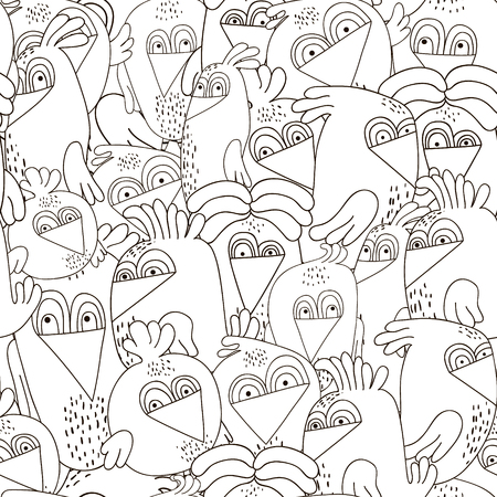 twit: Seamless pattern with cute birds. Monochrome black and white texture with funny birds. Perfectly look on fabric,textile,web,etc. Vector Illustration