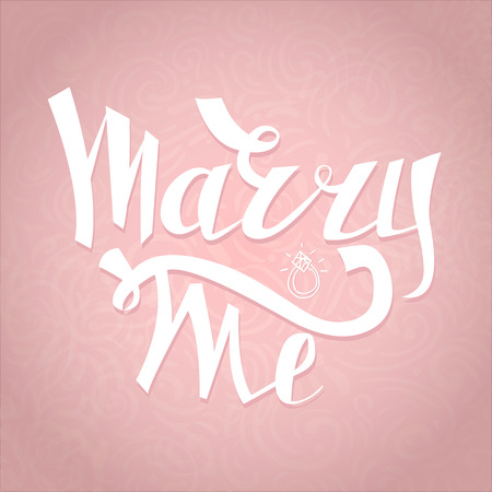 engagement party: Marry Me card with marriage proposal. Engagement party invitation. Romantic unique lettering. Illustration