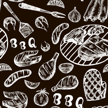 craft paper: Pattern with barbecue food on craft paper. Grill meat products on black background. Grill Sketch Seamless texture. Illustration Illustration