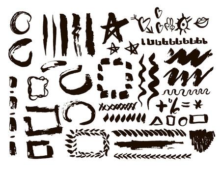 muddy: Grunge design elements set. Brush strokes and borders. Illustration Illustration