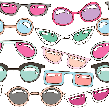 cat's eye glasses: Seamless pattern with colorful pastel hand drawn sunglasses. Beauty summer texture. Perfectly look on fabric, web, textile, etc. Vector Illustration Illustration