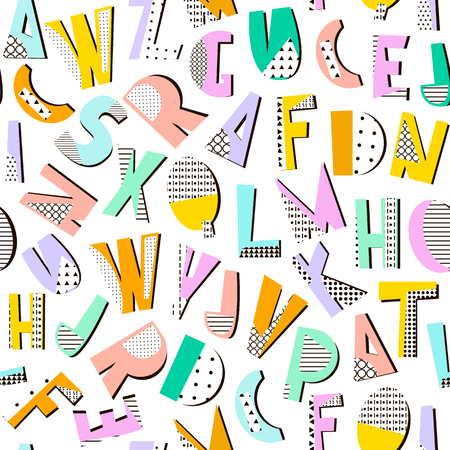memphis: Seamless pattern with geometric modern letters. Memphis alphabet texture. Perfectly look on fabric,textile. etc. Illustration