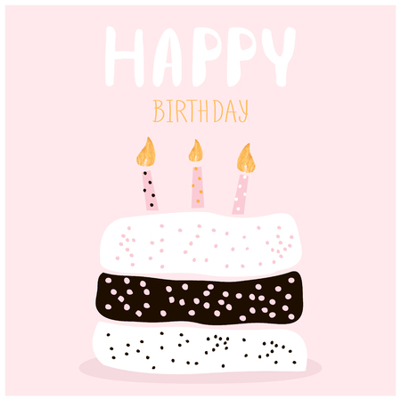 Cute cake with happy birthday wish. Greeting card template. Creative happy birthday background. Vector Illustration Ilustração