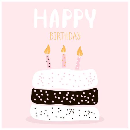 Leuke cake met gelukkige verjaardagswens. Wenskaartsjabloon. Creatieve gelukkige verjaardag achtergrond. Vector illustratie Stockfoto - 63512111