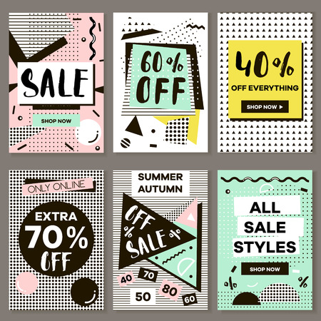 Media banners for online shopping, mobile website banners, posters, email and newsletter designs. Vector creative sale banners template with hand drawn elements. Eyecatcher bunners in Memphis style. Ilustração