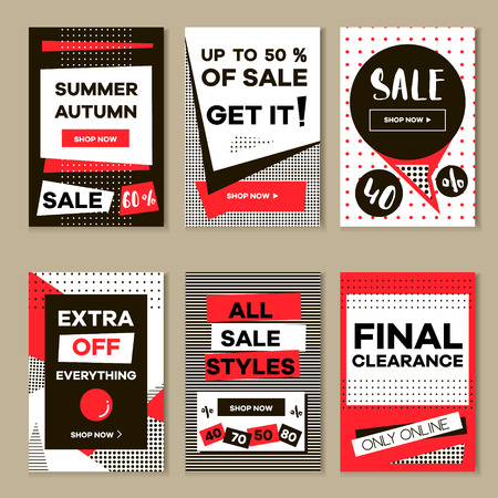 Media banners for online shopping, mobile website banners, posters, email and newsletter designs. Vector creative sale banners template with hand drawn elements. Eyecatcher bunners set