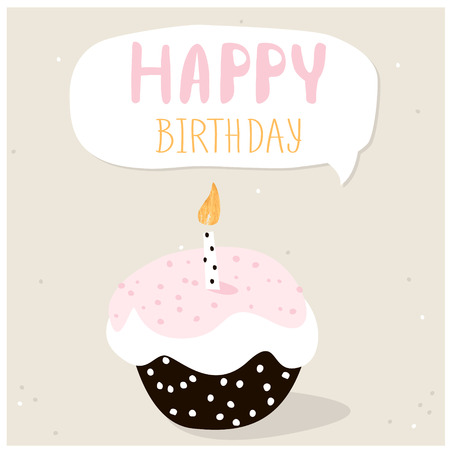 Cute Cupcake With Happy Birthday Wish. Greeting Card Template. Creative  Happy Birthday Background.  Birthday Wish Template