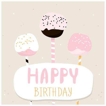 Leuke cake knalt met een gelukkige verjaardag te wensen. Wenskaartsjabloon. Creatieve gelukkige verjaardag achtergrond. vector Illustration
