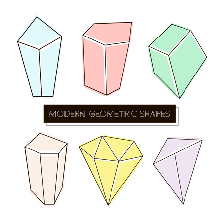 Set of modern geometric shapes and crystals isolated on white. Vector Illustration