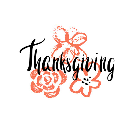 caes: Happy Thanksgiving day. Vector greeting card. Vector illustration.