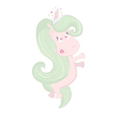Cute beautiful Unicorn isolated on white. Magic unicorn icon. Hand drawn unicorn is perfect for t-shirt design, fabric, textile Illustration