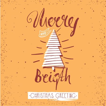 christmass: Merry and bright trendy card template. Vintage hand drawn lettering. Holiday vector unique typography isolated on gold.