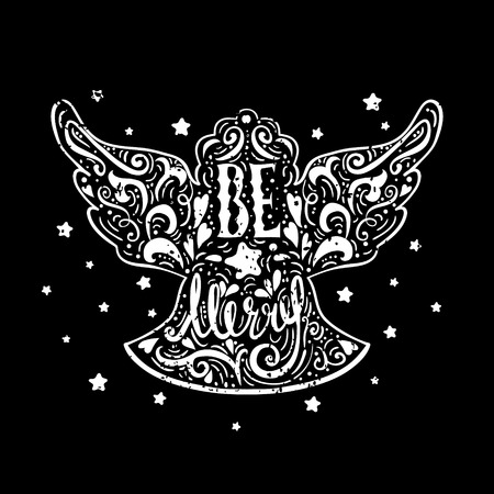 Be Marry- Silhouette of a Christmas Angel with unique lettering. Hand drawn design element for Holiday. Christmas vector greeting card on black