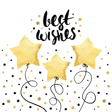 Best wishes- holiday unique handwritten lettering with balloons made in gold foil style. Greeting trendy background Illustration